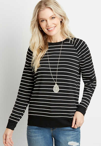 Black Stripe Crew Neck Pullover Sweatshirt