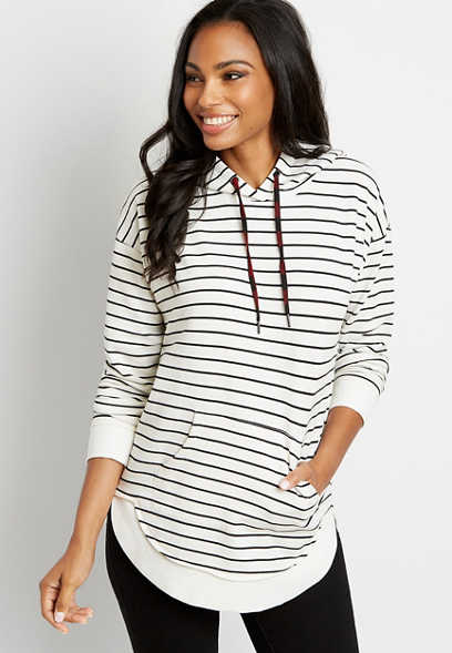 White Stripe Pullover Hoodie