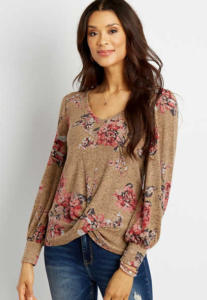 24/7 Brown Floral Long Blouson Sleeve Twist Hem Tee