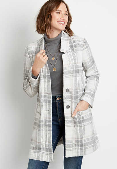 Gray Plaid Button Front Cardigan Coat