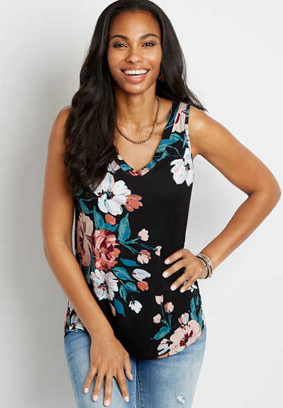 24/7 Black Floral V Neck Tank Top