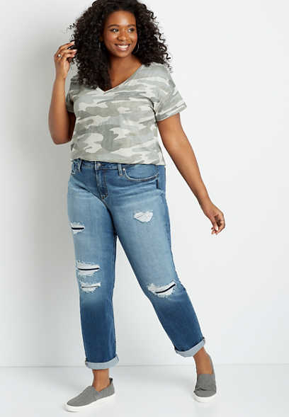 Plus Size Silver Jeans Co.® High Rise Back Destructed Rolled Girlfriend Jean