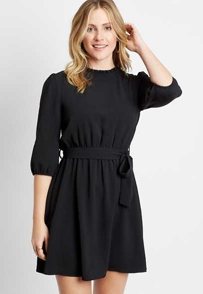 Black High Ruffle Neck Tie Waist Mini Dress