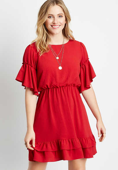 Red Short Flutter Sleeve Mini Dress