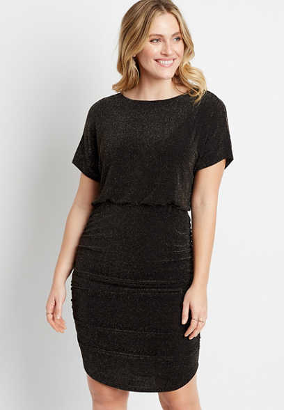 Black Shimmer Cinched Sides Mini Dress