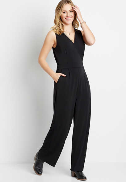 Black V Neck Pocket Jumpsuit