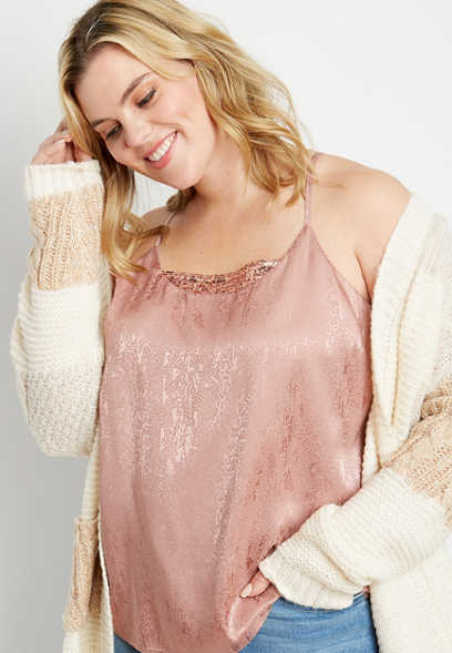 Plus Size Shimmer Sequin Trim Tank Top