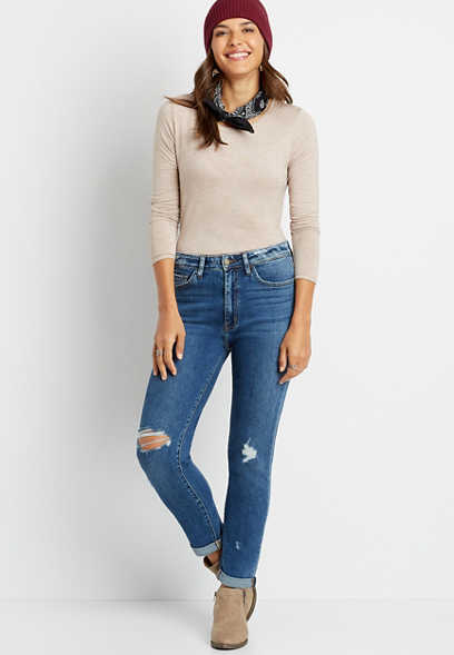 Flying Monkey™ High Rise Dark Destructed Mom Jean