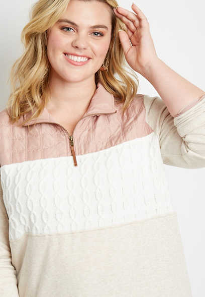 Plus Size Quilted Top Quarter Zip Pullover Sweatshirt