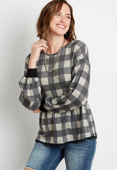 Black Buffalo Plaid Lace Trim Peplum Top