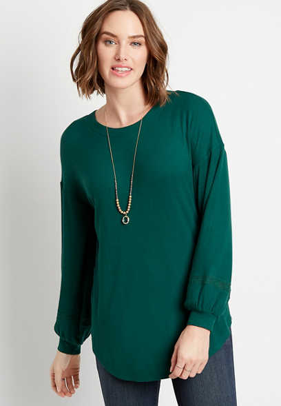 Green Twisted Lace Bar Back Rib Tunic Top