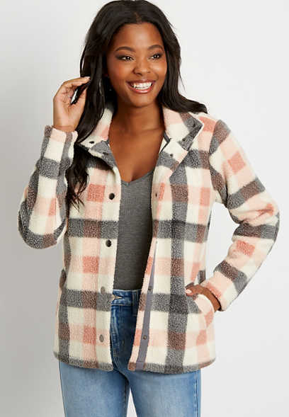 White Plaid Sherpa Jacket