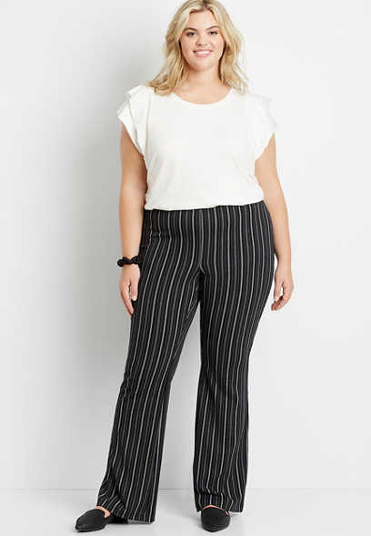 Plus Size High Rise Stripe Stretch Crepe Flare Pant