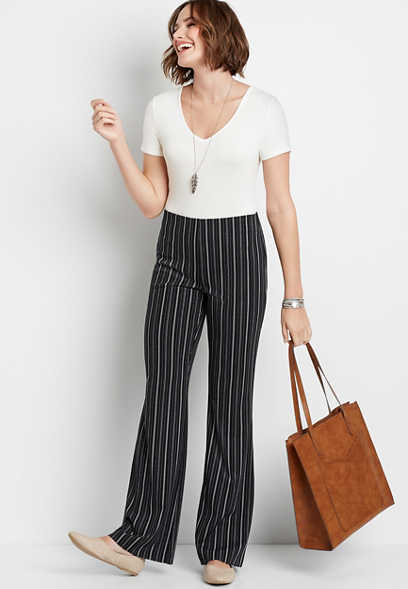 High Rise Stripe Stretch Crepe Flare Pant