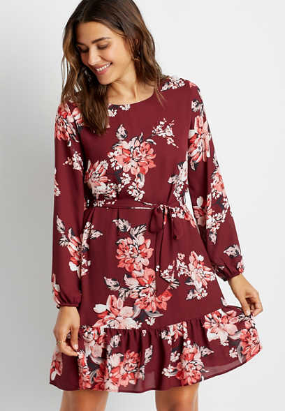 Burgundy Floral Tie Waist Long Sleeve Mini Dress
