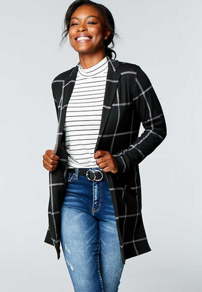 Black Menswear Plaid Open Front Duster Blazer