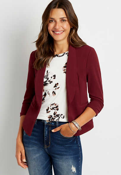 Wine Open Front Blazer