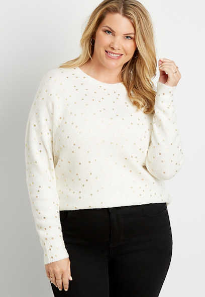 Plus Size Gold Metallic Crew Neck Pullover Sweater