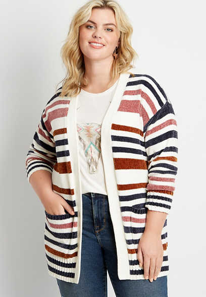 Plus Size White Stripe Chenille Open Front Cardigan