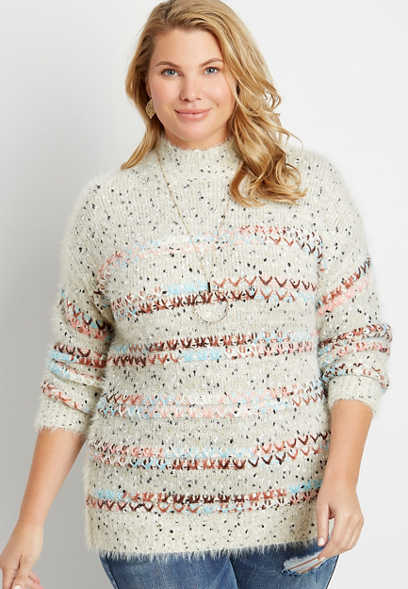 Plus Size Multi Yarn Mock Neck Pullover Sweater