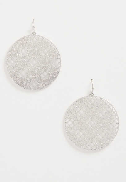 Silver Etched Medallion Drop Earrings