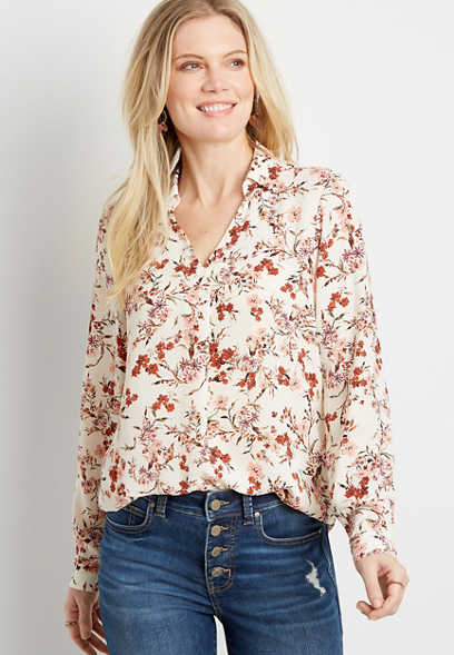 White Floral Collared Pleat Front Long Sleeve Blouse
