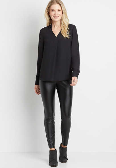 Black Collared Pleat Front Long Sleeve Blouse