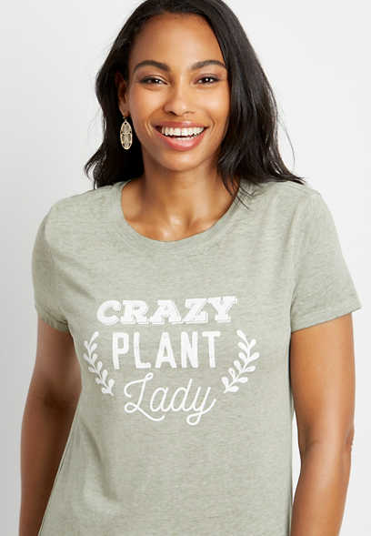 Olive Crazy Plant Lady Graphic Tee