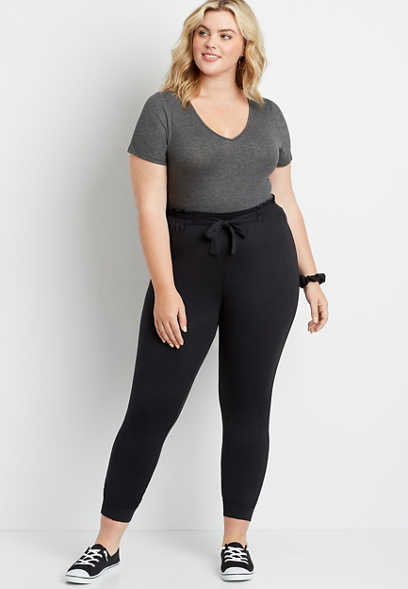 Plus Size Black Ultra Soft Tie Waist Jogger Pant