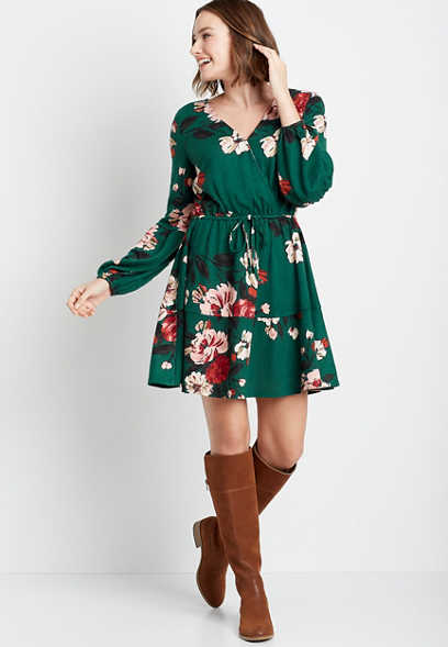 Green Floral Cozy Tiered Mini Dress