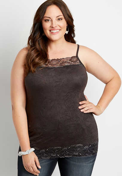 Plus Size Solid Metallic Lace Crinkle Cami
