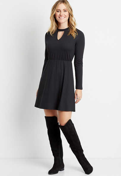 Black Cozy Cut Out Neck Mini Dress
