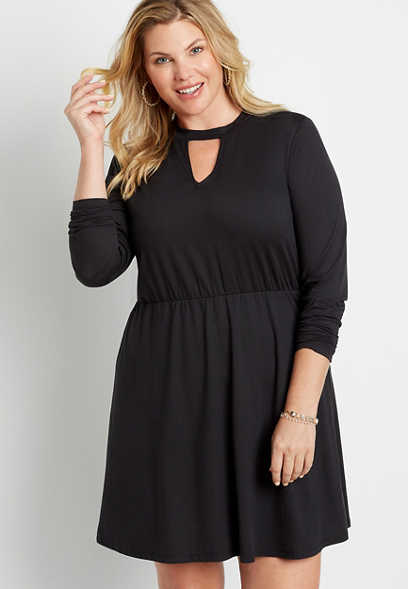 Plus Size Black Cozy Cut Out Neck Mini Dress