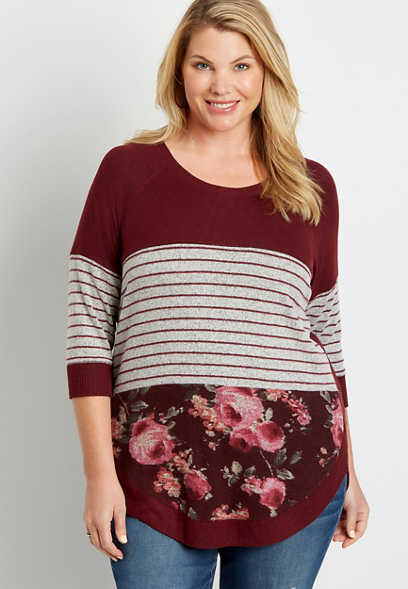 Plus Size Berry Stripe Floral Colorblock Round Hem Pullover