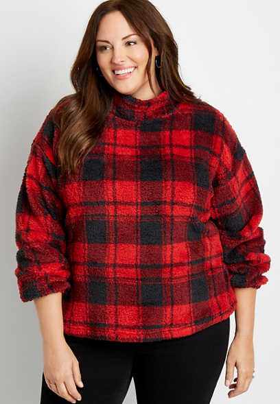 Plus Size Buffalo Plaid Mock Neck Sherpa Pullover Sweatshirt