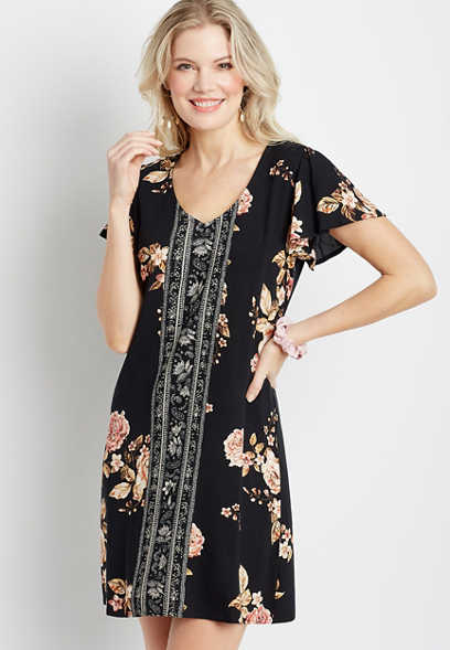 Black Mix Floral Flutter Sleeve Mini Shift Dress
