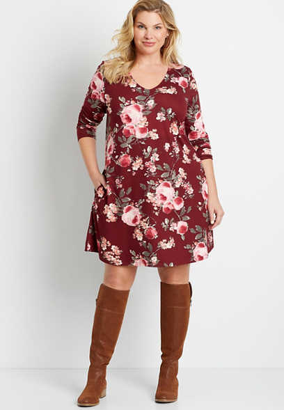 Plus Size Berry Floral Cozy Pocket Long Sleeve Shift Dress