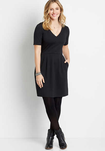 Black Pocket Ponte Mini Dress