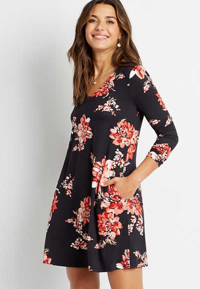 Black Floral V Neck Pocket Long Sleeve Shift Dress