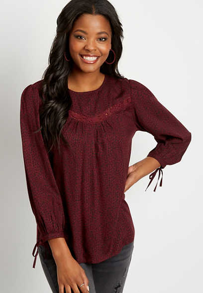 Berry Dot Print Lace Trim Top