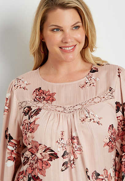 Plus Size Pink Floral Lace Trim Top