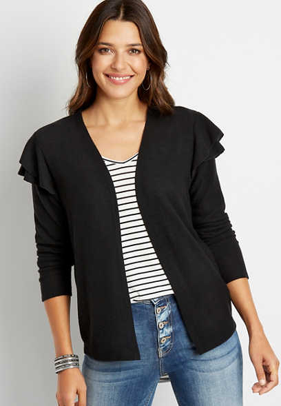 Black Ruffle Sleeve Open Front Cardigan