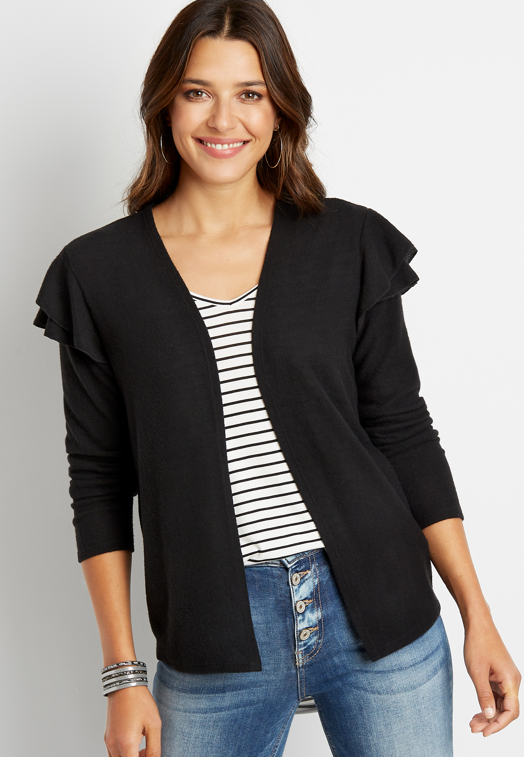 Maurices Black Ruffle Sleeve Open Front Cardigan