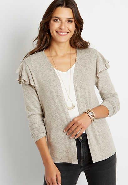 Solid Ruffle Sleeve Open Front Cardigan