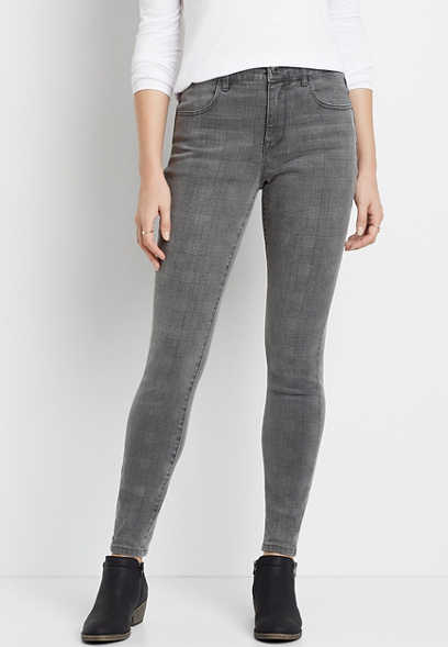 DenimFlex™ High Rise Gray Plaid Print Jegging