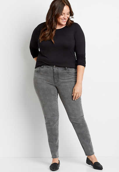 Plus Size DenimFlex™ High Rise Gray Plaid Print Jegging