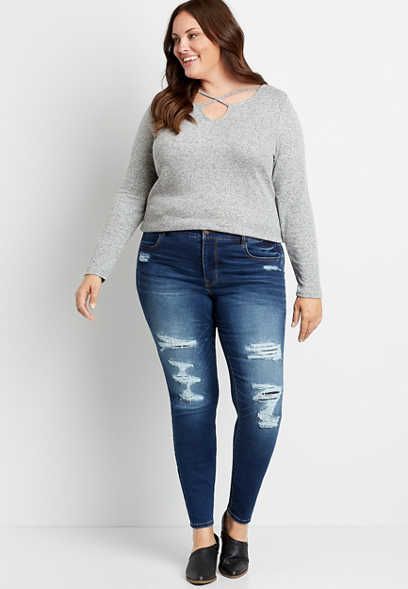 Plus Size DenimFlex™ High Rise Dark Backed Destructed Super Soft Jegging