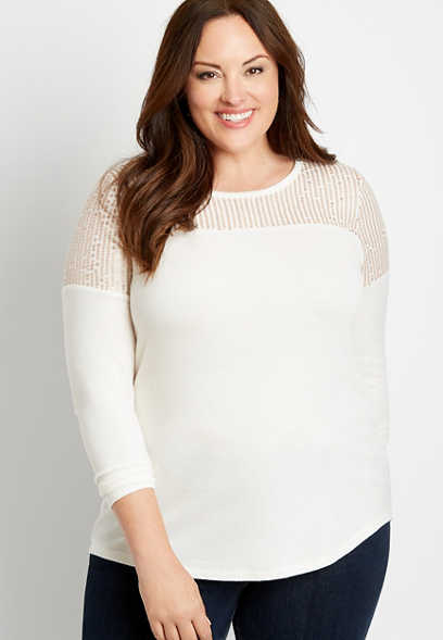 Plus Size 24/7 White Sequin Cozy Football Tee