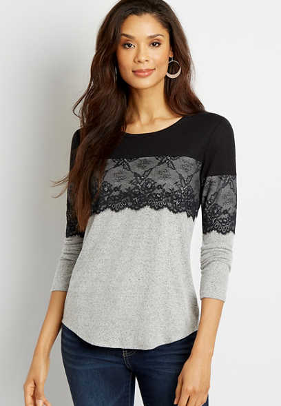 24/7 Gray Lace Top Cozy Football Tee