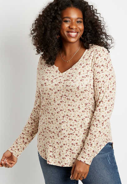 Plus Size 24/7 Ditsy Floral Split Neck Cozy Tee